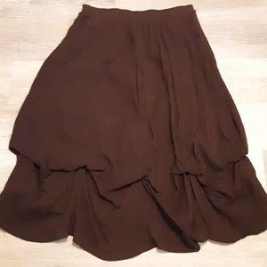 NWOT Scalloped hemmed boho chocolate brown skirt-S